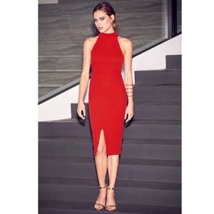 Lulu's Outstanding Features Red Midi Dress
